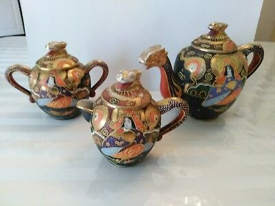 Hand Painted Moriage Satsuma Dragon Teapot Tea Sugar Creamer Set Japanese Takito