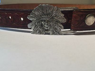 Vintage Indiana Metal Craft Belt and Indiana Chief Head Buckle