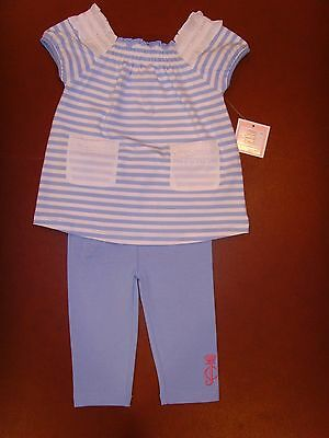 New Juicy Couture Infant/Baby Girl blue/white striped tunic top legging set 3-6M