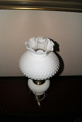 Vintage Hobnail White Milk Glass Table Lamp Three Way Switch