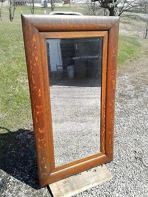 Antique Tiger Oak Frame Beveled Wall Hanging Hall Mirror 1920 Era