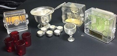 Fabulous Vintage Lot Of Dollhouse Miniature Punch Bowl Set, Glassware Etc