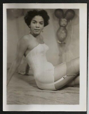 Black Model In Lingerie Garters Nylons 4 x 5 Babe Pinup Photo Risque