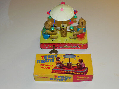 Teddy Bears Sawing wood CHINA working clockwork MS 787 Vintage Tin Toy in Box