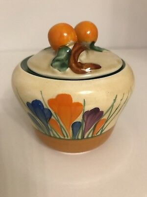 ORIGINAL 1930's CLARICE CLIFF CROCUS PRESERVE  MARMALADE POT AND COVER