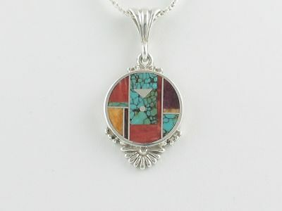 Native American Sterling Silver MultiStone Round Pendant /Necklace by Ray Tracey
