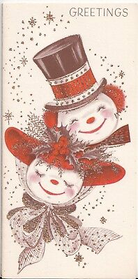 Unused, Cute Snowman Couple In Hats, Vintage Glittered Christmas Card!
