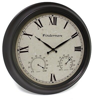 Outdoor Garden Wall Clock Thermometer Humidity Meter 46cm dark brown colour