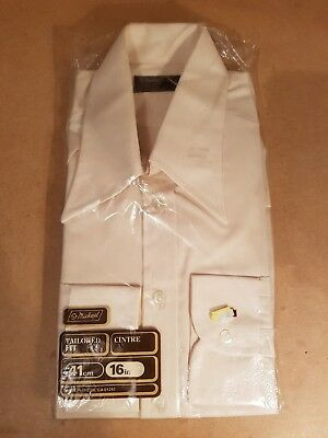 "Vintage 70's St Michael M&S Tailored Beige Men's Shirt 41cm 16"" New In Packet"