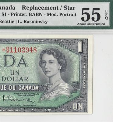 1954 Bank Of Canada Qeii $1 **star Note** (( Pmg 55 Epq ))