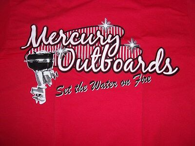 Mercury Outboard Set The Water On Fire Vintage Tee Shirt Red