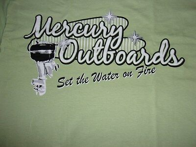 Mercury Outboard Set The Water On Fire Vintage Tee Shirt Green