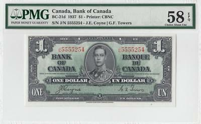 1937 BANK OF CANADA KGVI $1 **Coyne & Towers** ~Consec 2 of 2~ (( PMG 58 EPQ ))
