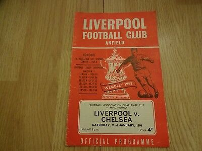 1965/66 Fa Cup 3Rd Round Liverpool V Chelsea Programme