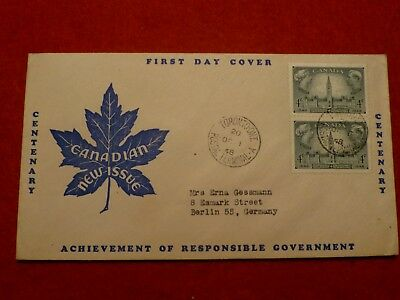 FDC Kanada 1948 Centenary Achievement of responsible Government MiNr 247