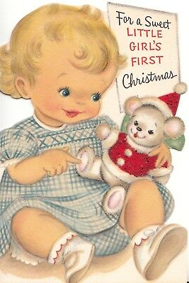 Unused, Cute Baby Girl's First Christmas Vintage Glitter Christmas Greeting Card
