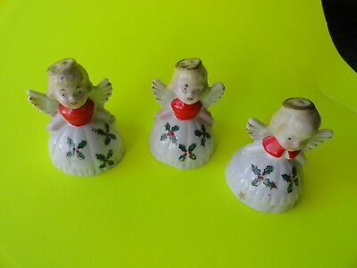 Vintage 3 ANGEL  Ceramic CHRISTMAS FIGURINES ORNAMENTS Made in JAPAN