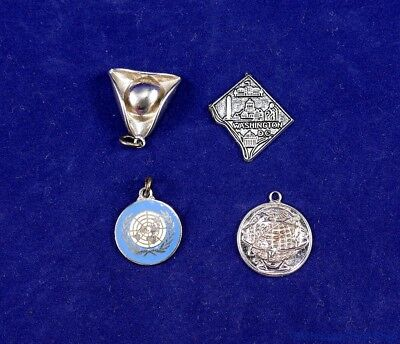 4 Sterling Silver Charms United Nations,NY Worlds Fair, DC, Pilgrim Hat