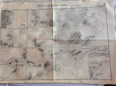 Vintage Nautical Chart Ports and Anchorages in Corsica, Nov 10 1870