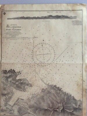 Vintage Nautical Chart Port and Roadstead of Port-Vendres, Feb 10 1860