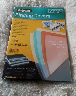 1 pack Fellowes PVC Transparent Binding Cover A4 150 Micons Clear Pack of 100