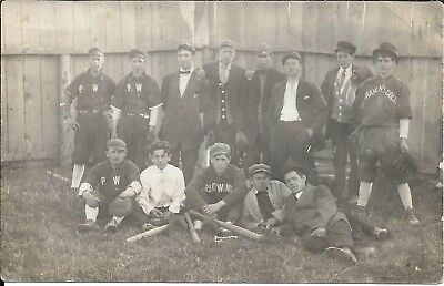 "Baseball Team - 3 jersey names ""P.W., Shanen's Colts , Red Wing ""  c. 1910"