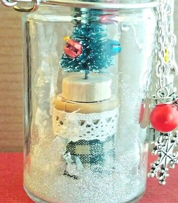 Vintage Spool Bottlebrush Tree In A Jar Snowglobe Ornament Christmas Tabletop