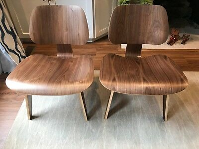 Herman Miller Eames Walnut Lounge Chairs with Wood Legs (LCW) - Pair