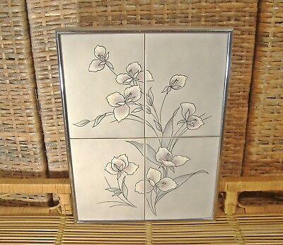 Mid Century Modern Tile Plaque Wall Hanging Orchid Flowers Lavender Gray