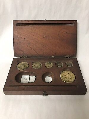 RARE ANTIQUE BOXED SET OF APOTHECARY WEIGHTS VICTORIAN, Missing Tweezers
