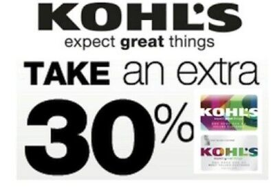 """Kohls EXTRA 30% Off Coupon valid 12/09/2018- 12/24/2018 with """"Kohls Charge"""""""