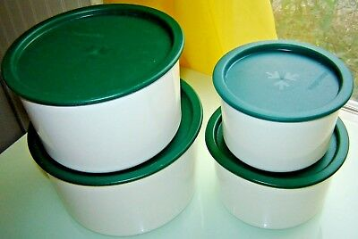 4 Piece TUPPERWARE White Topper Canister Set #2707-2710 w Green Lids #2417-2423