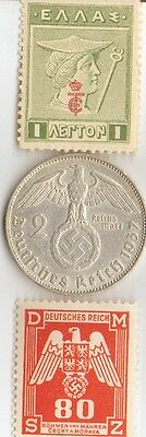 ***wwii  Antique. silver - 1937 - *germann   EAGLE  coin + WWI *greek stamp