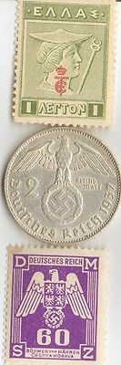 *wwii  Antique. silver - 1937 - *germann   EAGLE  coin + WWI *greek stamp