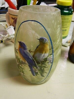 "Stony Creek - Frosted Glass - 5"" Lighted Vase birds light strings beautiful"