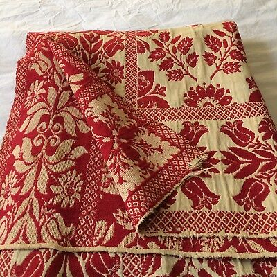 """Antique bedspread coverlet turkey red aged ivory hand woven 89x74"""" FOLK ART"""