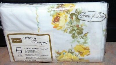 Vintage Sears French Bouquet Pillowcases Yellow Roses Flowers Percale New