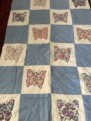 """Vtg Hand Stitched Figural Butterfly Insects Animals Applied Baby Blue Quilt 47"""""""