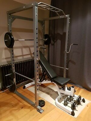 Heavy duty Body Solid  weight bench with Ryno squat /pull up cage