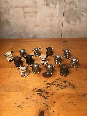 14 Vintage Cast Iron Hubley Dogs Paperweights Bucki Carbon Ribbons