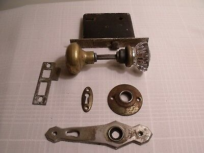 Antique Vintage Hardware Complete Set of Door Handle, Face Plates & Lock