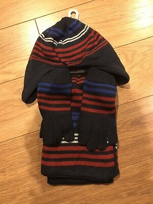 Tu Sainsburys Boys Winter Hat, Scarf & Gloves/mittens Set Age 7-10 Years New!!