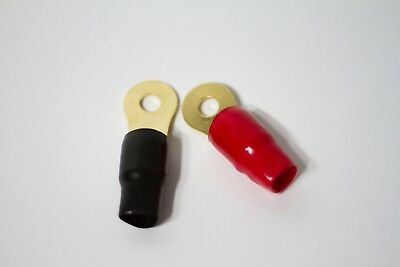 """2pcs 0 Gauge Power Terminal Ring Red and Black 3/8"""" Gold Plated Wire Connector"""