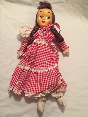 VINTAGE 1950s 1960s Children's Girl's Baby Doll in Red Checkered Dress