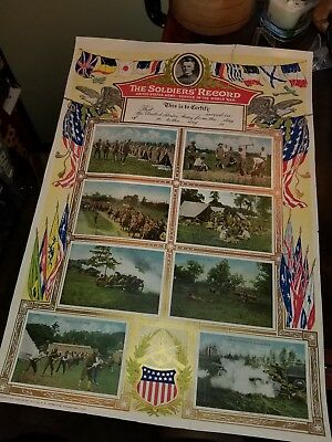 Vintage Original WWI 1917 The Soldier's Record US Army Service Poster Never Used