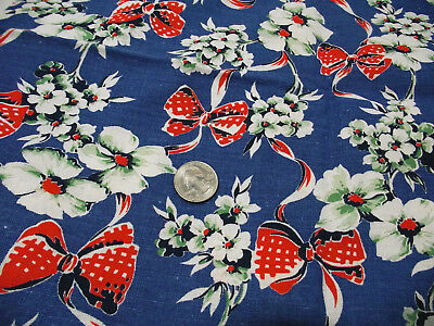 Vintage cloth feed sack floral bows print - quilt or craft project fabric
