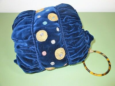 VINTAGE Art Deco Muff - Royal Blue Velvet