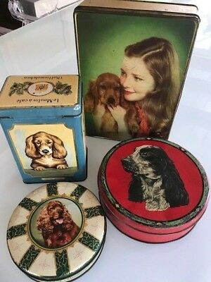 Rare Lot 4 Vintage Decorative Biscuit Coffee Candy Tins - COCKER SPANIEL Dog