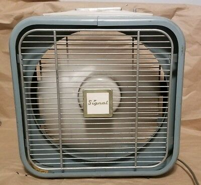 Antique Vintage SIGNAL Metal Box Window Fan WS-12 King-Seely TESTED WORKS