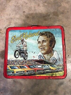 Evel Knievel Vintage Metal Lunchbox 1974 no thermos